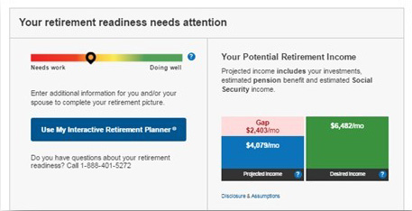 Retirement Readiness scale screenshot